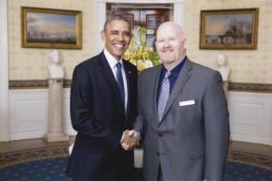 Oregon's 2014 TOY, Brett Bigham, Meets President Obama